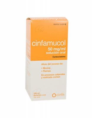 CINFAMUCOL CARBOCISTEÍNA 50 mg/ml SOLUCION ORAL, 1 frasco de 200 ml