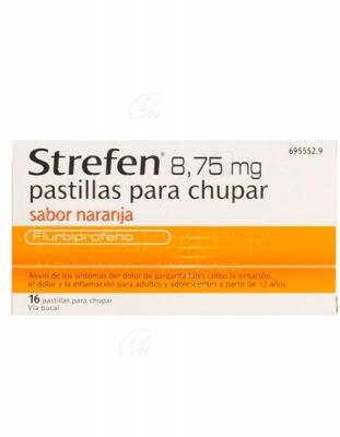 STREFEN 8,75 MG PASTILLAS PARA CHUPAR SABOR NARANJA, 16 pastillas