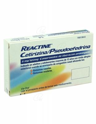 REACTINE CETIRIZINA/PSEUDOEFEDRINA 5mg/120mg COMPRIMIDOS DE LIBERACION PROLONGADA, 14 comprimidos