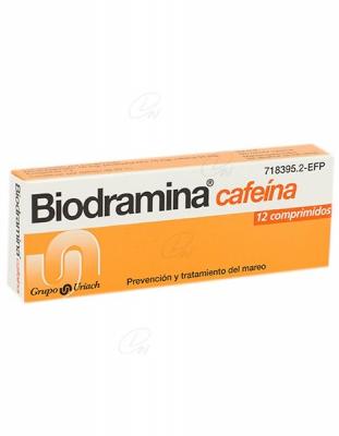 BIODRAMINA CAFEINA COMPRIMIDOS RECUBIERTOS, 12 comprimidos