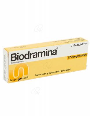 BIODRAMINA 50 mg COMPRIMIDOS, 12 comprimidos