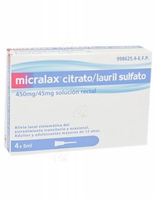 MICRALAX CITRATO/LAURIL SULFOACETATO 450 mg/45 mg solucion rectal, 4 enemas