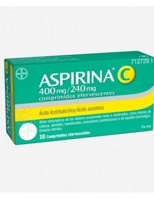 ASPIRINA C 400 mg/240 mg COMPRIMIDOS EFERVESCENTES, 10 comprimidos