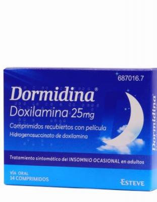 DORMIDINA DOXILAMINA 25 mg COMPRIMIDOS RECUBIERTOS CON PELICULA, 14 comprimidos