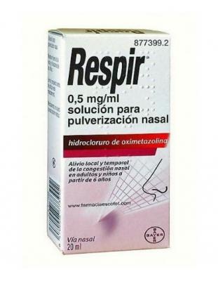 RESPIR 0,5 mg/ml SOLUCION PARA PULVERIZACION NASAL, 1 frasco de 20 ml (Frasco+bomba pulverizadora)